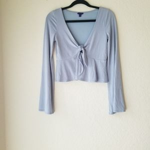 Aeropostale Front Tie Blue Bell Sleeve Cropped Top